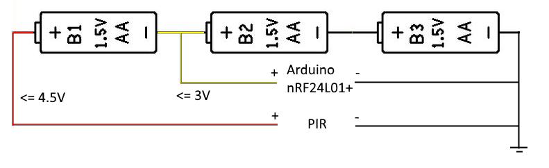PIR battery wiring