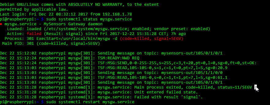 Raspberry Pi MQTT gateway crashes after a few hours